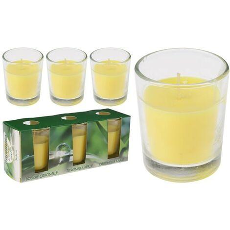 Pack 3 velas vasito vidrio 6 x 5 cm. con citronela