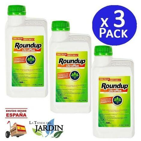 """main image of """"Pack 3 x Herbicida Roundup UltraPlus 500ml para jardinería exterior doméstica"""""""