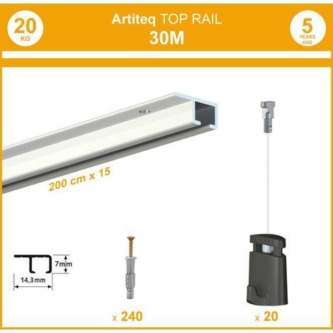 Pack 30 mètres cimaise Top Rail couleur Blanc - Cimaise rail plafond pour suspension cadres et tableaux - 20 câbles Micro Perlon 150 cm