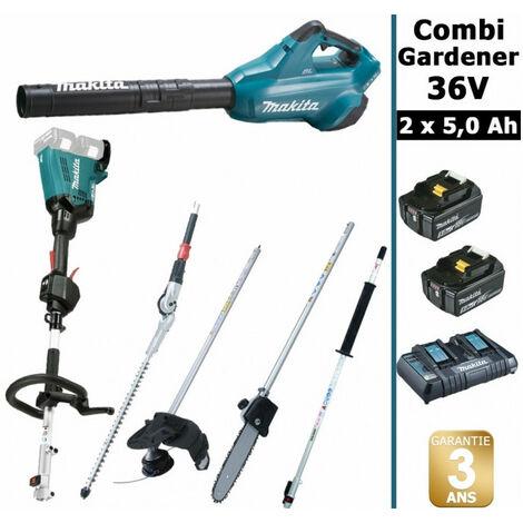 Pack 36V Combi Gardener: outil multifonction 36V avec 4 accessoires + souffleur 36V + 2 batt 5Ah MAKITA DUX60 DUB362