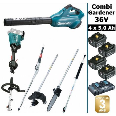 Pack 36V Combi Gardener: outil multifonction 36V avec 4 accessoires + souffleur 36V + 4 batt 5Ah MAKITA DUX60 DUB362