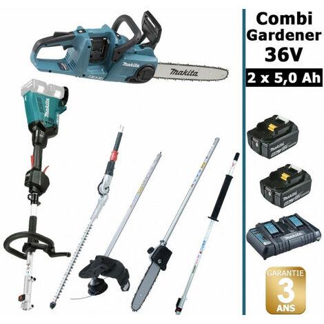 Pack 36V Combi Gardener: outil multifonction 36V avec 4 accessoires + tronçonneuse 36V 35cm + 2 batt 5Ah MAKITA DUX60 DUC353