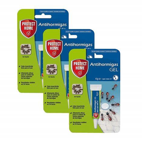 Pack 3x ANTIHORMIGAS GEL PROTECT HOME para control de hormigas en interior y exterior 4g (BAYTHION) (3 x 4 gr)