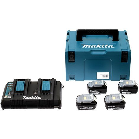 Pack 4 Batteries 5Ah + Chargeur double MAKITA + coffet Makpac - 197626-8