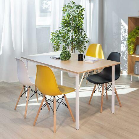 Pack 4 Chaises Blanches Design Nordique Sena Pour Salon Balcon Terrasse McHaus