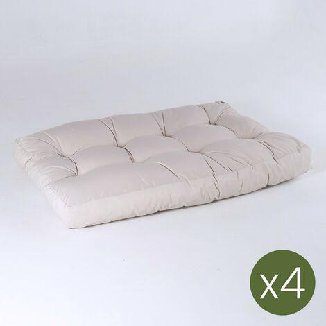 Pack 4 cojines asiento para palet - Tamaño: 80x120x16 cm