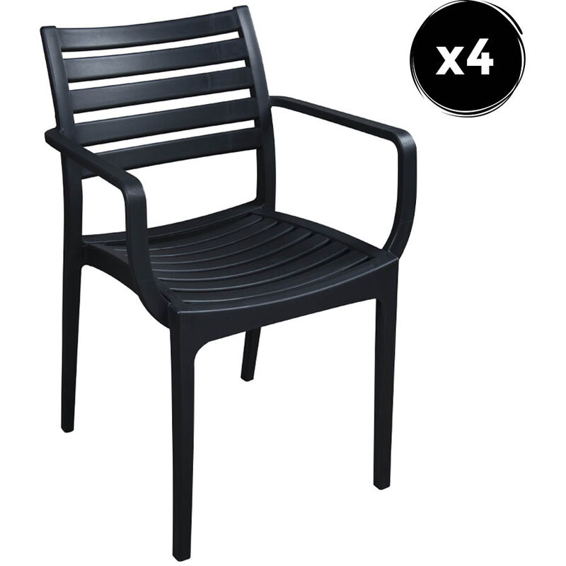 Pack 4 Fauteuil Quebec Polipropilene Anthracite