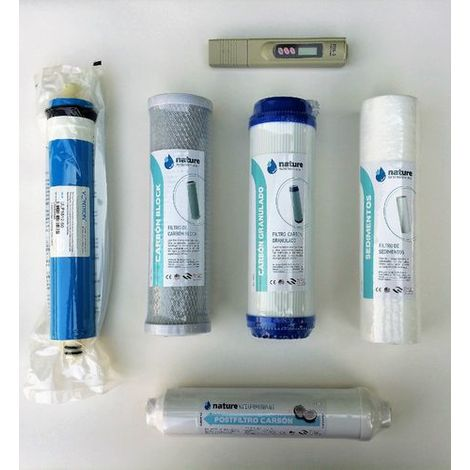 Pack 4 filtros osmosis inversa, membrana Vontron y Medidor TDS - NatureWater Professionals