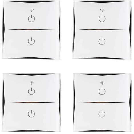 Pack 4 Interruptores Dobles WiFi de Pared vía Smartphone/APP