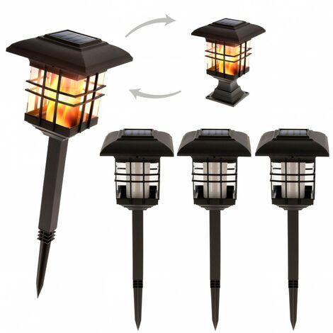 Pack 4 luz solar exterior efecto llama Aktive Tech