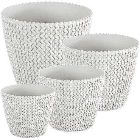 Pack 4 macetas redondas Prosperplast (5/8/11,5/18,6 litros) Splofy de plastico en color blanco