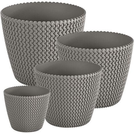 Pack 4 macetas redondas Prosperplast (5/8/11,5/18,6 litros) Splofy de plastico en color gris