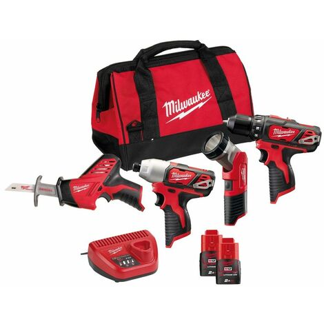 Pack 4 machines MILWAUKEE C12 PP4B-202B 12V - Perceuse + Visseuse + Scie sabre + Lampe LED + 2 batteries, chargeur sac - 4933441240