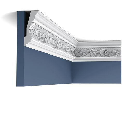 Pack 4 mètres C201 Corniche plafond Orac Decor - 11,5x5x200cm (h x p x L) - moulure décorative polyuréthane - rigide ou flexible : rigide - conditionnement : Pack 2 pièces