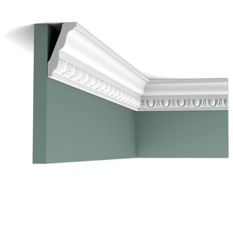 Pack 4 mètres C212 Corniche plafond Orac Decor - 7,5x4x200cm (h x p x L) - moulure décorative polyuréthane - rigide ou flexible : rigide - conditionnement : Pack 2 pièces