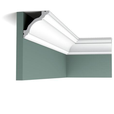 Pack 4 mètres C213 Corniche plafond Orac Decor- 8x8x200cm (h x p x L) - moulure décorative polyuréthane - rigide ou flexible : rigide - conditionnement : Pack 2 pièces