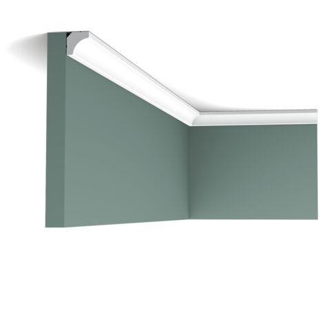 Pack 4 mètres C250 Corniche plafond Orac Decor - 200x1,5x1,5 cm (h x p x L) - moulure décorative polyuréthane - rigide ou flexible : rigide - conditionnement : Pack 2 pièces