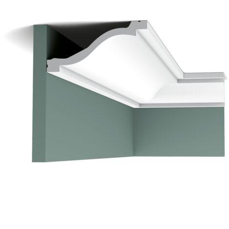 Pack 4 mètres C331 Corniche plafond Orac Decor - 6x13,5x200cm (h x p x L) - moulure décorative polyuréthane - rigide ou flexible : rigide - conditionnement : Pack 2 pièces