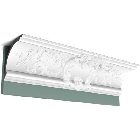 Pack 4 mètres C338A BA'ROCK Corniche plafond Orac Decor - 18x18x200cm (h x p x L) - moulure décorative polyuréthane - Conditionnement : Pack 2 pièces