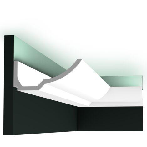 Pack 4 mètres C351 Corniche plafond pour éclairage indirect Orac Decor - 8x17,5x200cm (h x p x L) - moulure décorative polyuréthane - Conditionnement : Pack 2 pièces