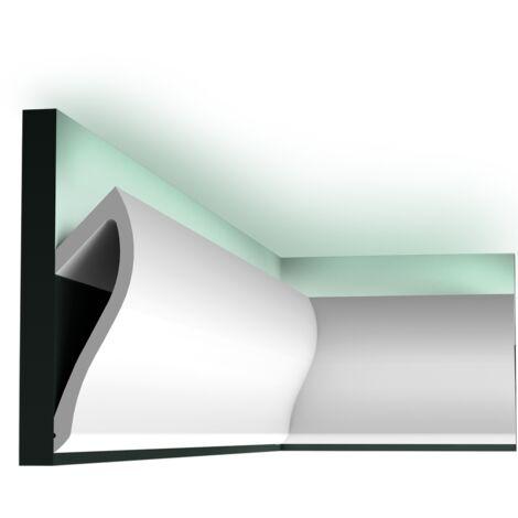 Pack 4 mètres C371Corniche plafond pour éclairage indirect Orac Decor - 18,5x6x200cm (h x p x L) - moulure décorative polyuréthane - Conditionnement : Pack 2 pièces