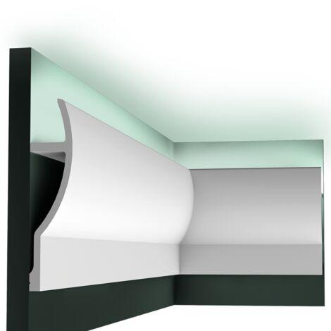 Pack 4 mètres C372 Corniche plafond pour éclairage indirect Orac Decor - 28x7x200cm (h x p x L) - moulure décorative polyuréthane - Conditionnement : Pack 2 pièces