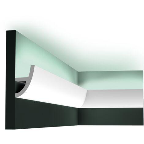 Pack 4 mètres C373 Corniche plafond pour éclairage indirect Orac Decor - 8x5x200cm (h x p x L) - moulure décorative polyuréthane - rigide ou flexible : rigide - conditionnement : Pack 2 pièces