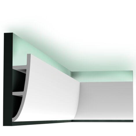 Pack 4 mètres C374 Corniche plafond pour éclairage indirect Orac Decor - 28x7x200cm (h x p x L) - moulure décorative polyuréthane - rigide ou flexible : rigide - conditionnement : Pack 2 pièces