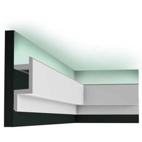 Pack 4 mètres C383 Corniche plafond pour éclairage indirect Orac Decor - 14x5x200cm (h x p x L) - moulure décorative polyuréthane - Conditionnement : Pack 2 pièces