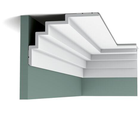 Pack 4 mètres C393 STEPS Corniche Plafond Orac Decor - 15x21x200cm (h x p x L) - moulure décorative polyuréthane - Conditionnement : Pack 2 pièces