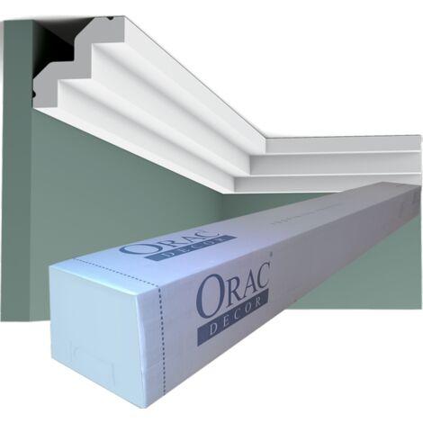 Pack 4 mètres C602 Corniche plafond Orac Decor - 5,5x5x200cm (h x p x L) - moulure décorative polyuréthane - rigide ou flexible : rigide - conditionnement : Pack 2 pièces