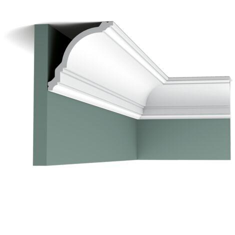 Pack 4 mètres CX106 Corniche plafond Orac Decor - 12x12x200cm (h x p x L) -moulure décorative polymère - rigide ou flexible : rigide - conditionnement : Pack 2 pièces