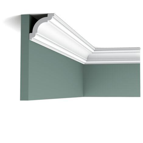 Pack 4 mètres CX124 Corniche plafond Orac Decor - 5x5x200cm (h x p x L) - moulure décorative polymère - rigide ou flexible : rigide - conditionnement : Pack 2 pièces