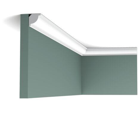 Pack 4 mètres CX132 Corniche plafond Orac Decor - 2x2x200cm (h x p x L) - moulure décorative polymère - rigide ou flexible : rigide - conditionnement : Pack 2 pièces