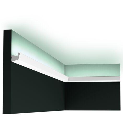 Pack 4 mètres CX189 Corniche éclairage indirect LED Orac Decor - 2,7x2,7x200cm (h x p x l) - conditionnement : Pack 2 pièces - rigideouflexible : rigide