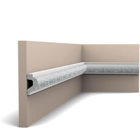 Pack 4 mètres P3020 Cimaise murale Orac Decor - 6x3,2x200cm (h x p x L) - moulure décorative polyuréthane - rigide ou flexible : rigide - conditionnement : Pack 2 pièces