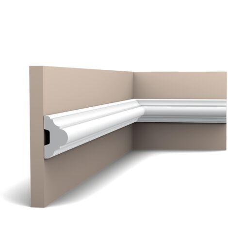 Pack 4 mètres P4020 Cimaise murale Orac Decor - 5x3x200cm (h x p x L) - moulure décorative polyuréthane - rigide ou flexible : rigide - conditionnement : Pack 2 pièces