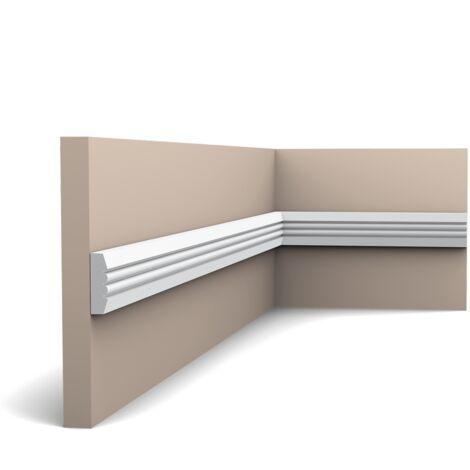 Pack 4 mètres P5021 Cimaise murale Orac Decor - 3x1x200cm (h x p x L) - moulure décorative polyuréthane - rigide ou flexible : rigide - conditionnement : Pack 2 pièces