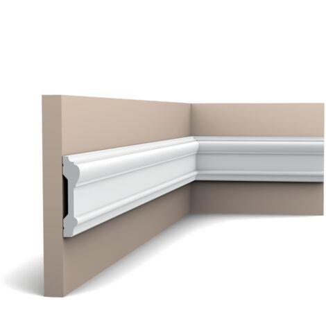Pack 4 mètres P9010 Cimaise murale Orac Decor - 9x3x200cm (h x p x L) - moulure décorative polyuréthane - rigide ou flexible : rigide - conditionnement : Pack 2 pièces