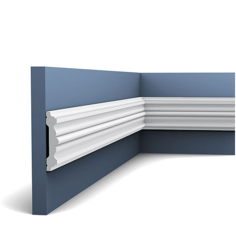 Pack 4 mètres P9020 Cimaise murale Orac Decor - 9,5x2x200cm (h x p x L) - moulure décorative polyuréthane - rigide ou flexible : rigide - conditionnement : Pack 2 pièces