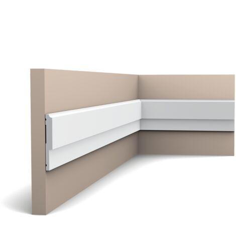 Pack 4 mètres P9900 Cimaise murale Orac Decor - 5x2,5x200cm (h x p x L) - moulure décorative polyuréthane - rigide ou flexible : rigide - conditionnement : Pack 2 pièces