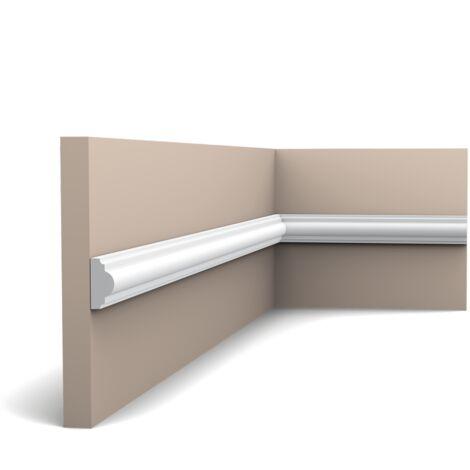 Pack 4 mètres PX103 Cimaise murale Orac Decor - 2,5x1,5x200cm (h x p x L) - moulure décorative polymère - rigide ou flexible : rigide - conditionnement : Pack 2 pièces