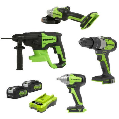 Pack 4 outils - GREENWORKS - 2 batteries 24V 4.0 Ah lithium-ion - 1 chargeur 24V