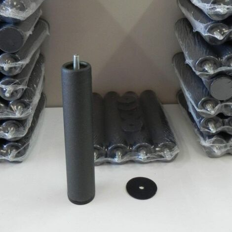 Pack 4 Patas cilíndricas metálicas para SOMIER o Base TAPIZADA con Rosca. Altura 25cm. con Sistema antiruido.