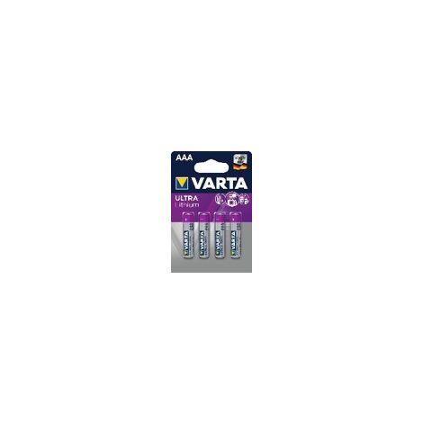 Pack 4 Piles Ultra Lithium AAA LR3 1.5V Varta