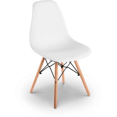 Pack 4 sedia bianca Sena Nordic design per terrazza balcone soggiorno  -McHaus