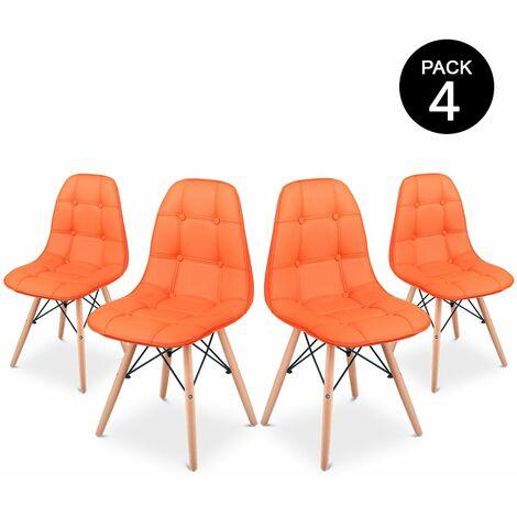 Pack 4 Sedia Sena Button da pranzo colore Arancione design