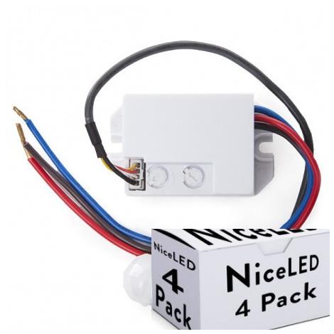 Pack 4 Sensor Movimiento Empotrar Mini 140º ► 300W (SB-BS022-PK4-AP)
