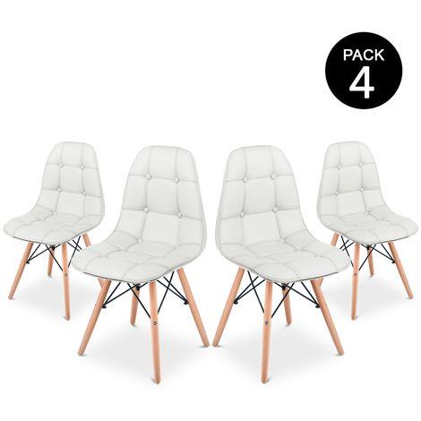 Pack 4 Sillas comedor color Blanco de diseño acolchadas -McHaus