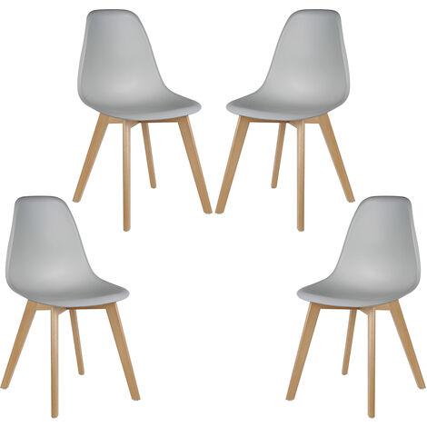 Pack 4 Sillas comedor   diseño nordico–cuero sintético Blanco